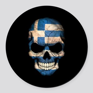Greek Flag Skull on Black Round Car Magnet