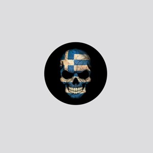 Greek Flag Skull on Black Mini Button