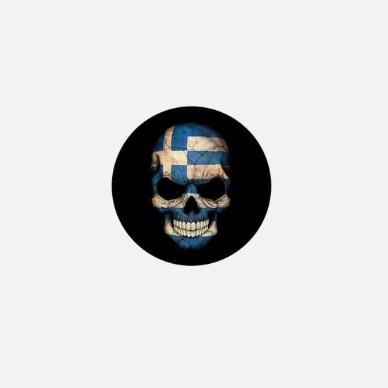 Greek Flag Skull on Black Mini Button