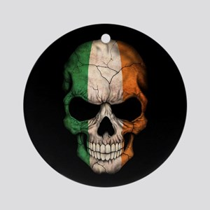 Irish Flag Skull on Black Ornament (Round)