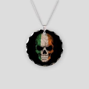 Irish Flag Skull on Black Necklace Circle Charm