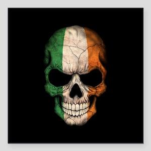 "Irish Flag Skull on Black Square Car Magnet 3"" x 3"