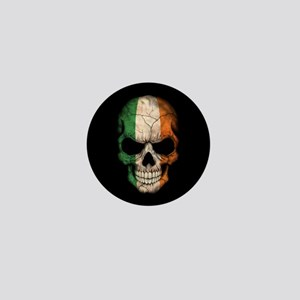 Irish Flag Skull on Black Mini Button