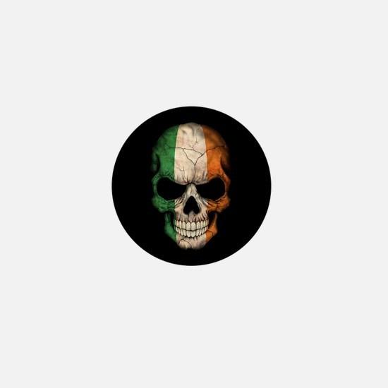 Irish Flag Skull on Black Mini Button