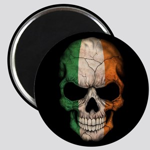 Irish Flag Skull on Black Magnets