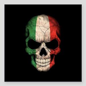 """Italian Flag Skull on Black Square Car Magnet 3"""" x"""