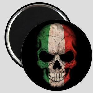 Italian Flag Skull on Black Magnets