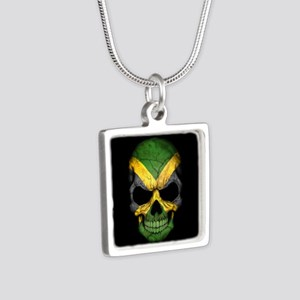 Jamaican Flag Skull on Black Necklaces