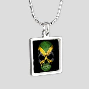 Jamaican Flag Skull on Black Necklaces