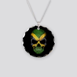Jamaican Flag Skull on Black Necklace Circle Charm