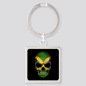Jamaican Flag Skull on Black Keychains