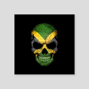 Jamaican Flag Skull on Black Sticker