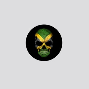 Jamaican Flag Skull on Black Mini Button