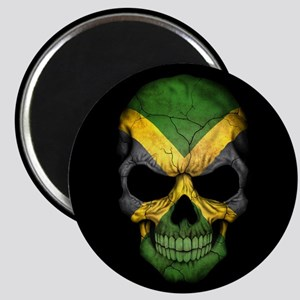 Jamaican Flag Skull on Black Magnets