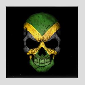Jamaican Flag Skull on Black Tile Coaster