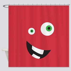Silly Face - Red Shower Curtain