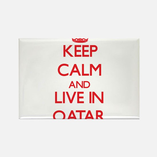 Keep Calm and live in Qatar Magnets