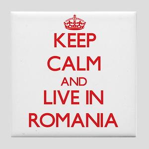 Keep Calm and live in Romania Tile Coaster