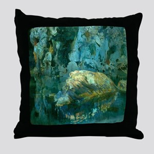 Joaquin Mir The Rock in the Pond Throw Pillow