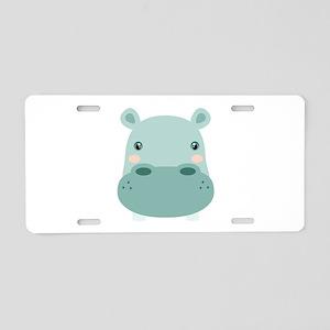 Cute Hippo Aluminum License Plate