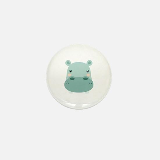Cute Hippo Mini Button