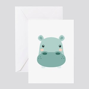 Cute Hippo Greeting Cards