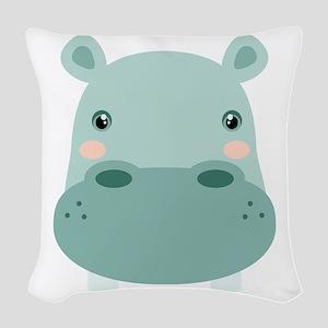 Cute Hippo Woven Throw Pillow
