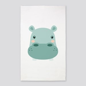Cute Hippo 3'x5' Area Rug