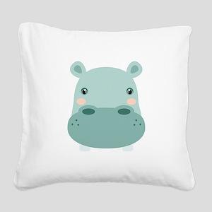 Cute Hippo Square Canvas Pillow