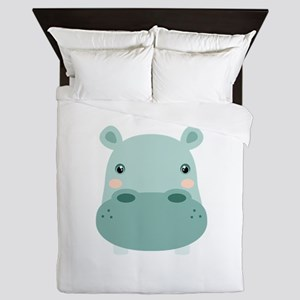 Cute Hippo Queen Duvet
