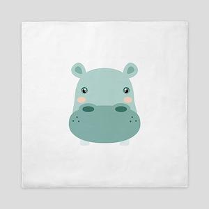 Cute Hippo Queen Duvet