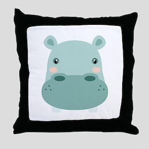 Cute Hippo Throw Pillow