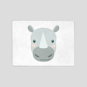 Cute Rhino 5'x7'Area Rug