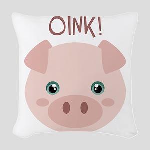 OINK! Woven Throw Pillow