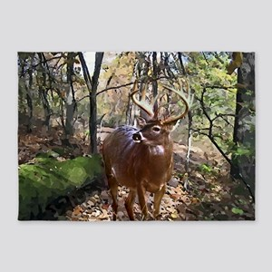 Woodland Buck Deer 5'x7'Area Rug