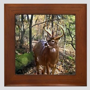 Woodland Buck Deer Framed Tile