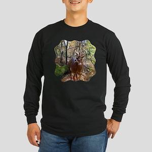 Woodland Buck Deer Long Sleeve Dark T-Shirt