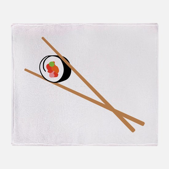 Sushi And Chopsticks Throw Blanket