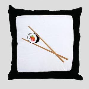 Sushi And Chopsticks Throw Pillow