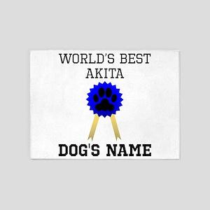 Worlds Best Akita (Custom) 5'x7'Area Rug