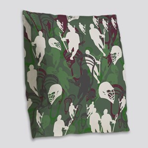 Lacrosse Camo Green 20XX Burlap Throw Pillow