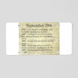 September 20th Aluminum License Plate