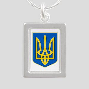 Ukraine Coat of Arms Silver Portrait Necklace