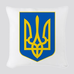 Ukraine Coat of Arms Woven Throw Pillow