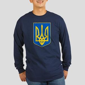 Ukraine Coat of Arms Long Sleeve Dark T-Shirt