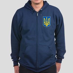 Ukraine Coat of Arms Zip Hoodie (dark)