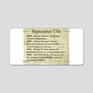 September 17th Aluminum License Plate