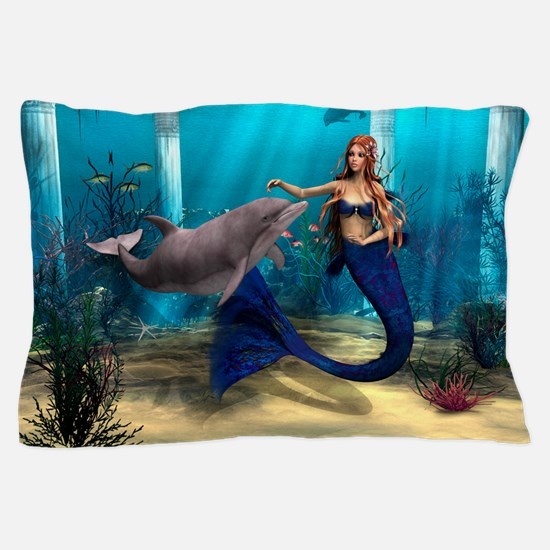 Mermaid and Dolphin Pillow Case
