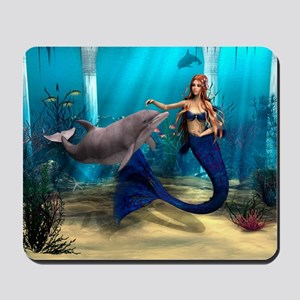 Mermaid and Dolphin Mousepad
