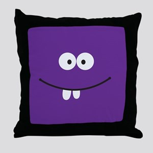 Silly Face - Purple Throw Pillow